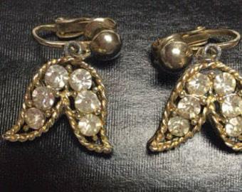 Vintage Diamondlike Clip On Earrings