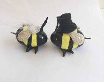 Bride and Groom with Top hat Bumblebee Wedding Couple Cake Topper Set of Two Mini Marble Friends