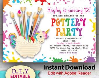 EDITABLE Pottery Party Invitation, Do-it-yourself Birthday Invitation, Rainbow Unicorn Theme, Edit at Home with Adobe Reader.