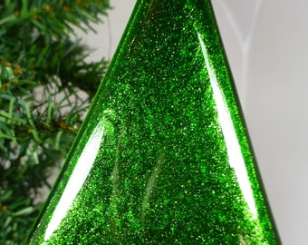 Fused Glass Christmas Tree in Sparkling Green Aventurine Art Glass with a Turquoise Blue base
