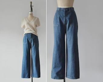 wide leg jeans / 29 waist / vintage 70s high waisted jeans