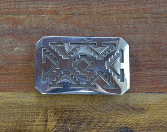 Handmade Sterling Silver Overlay Belt Buckle by Michael Whiteshadow