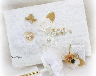 Wedding Guest Book White Gold, White Lace Guestbook,Gold Wedding Pen,Vintage Style Guest Book,Custom Order