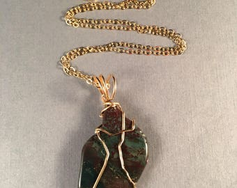 Green and Black Jasper Pendant Wrapped in 14kt Gold Filled Wire 2 Inches Long 1 Inch Wide on 14kt Gold Filled 20.5 Inch Chain, One of a Kind