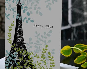 French birthday card, Bonne fête, Eiffel Tower