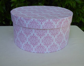 Pink and white  patterned band box, 19th century repro
