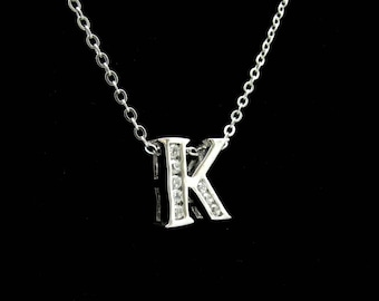 Vintage Letter K Rhinestone Necklace Slider Pendant Initial Silvertone