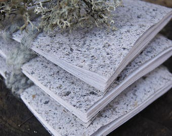 ONLY 3 LEFT - Grey Lichen Little Notebooks - Handmade paper - 10 pages - One of a kind natural paper - Sketchbook - Travel journal
