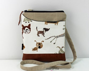 ZOE Messenger Cross Body Sling Bag - Dog Park on Beige Linen and PU Leather READY to SHIp  Ipad bag