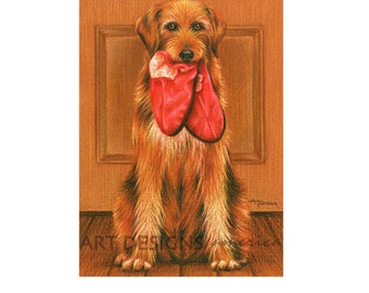ACEO Dog with Slippers Art Print, Dog Pastel Drawing, Archival Print, SFA, Artist Trading Card, Small Format Art, Animal Pet Art, ADA-P327