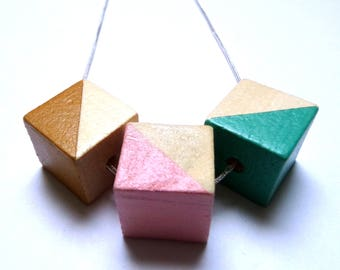 Triangle natural wood statement necklace - hand painted silver chain pink teal ochre limited edition square modern