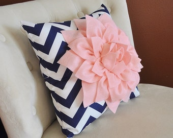 Navy Pillow with Light Pink Dahlia Decorative Pillows, Throw Pillows, Navy and White Zigzag - Pillows - Chevron Pillow Pink Throw Pillow