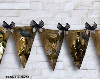 Printable Halloween bunting flags Zombies instant download small and large size flags for party favors