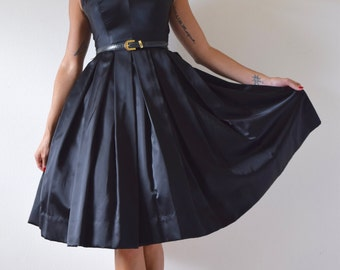 Vintage 50s 60s Inky Black Satin Pleated Full Skirt New Look Party Dress (size xs, small)