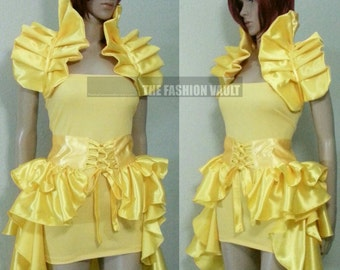 Set Beauty and the beast Princess Belle cosplay burlesque ringmaster dance costume bustle corset skirt and Shrug