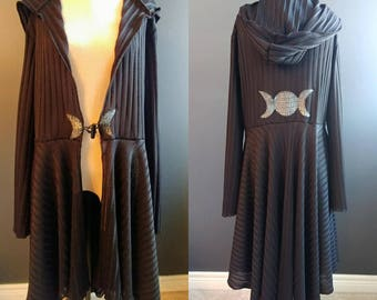 Moon Goddess Long Black Festival Faery Elven Sweater Coat  Size L/XL
