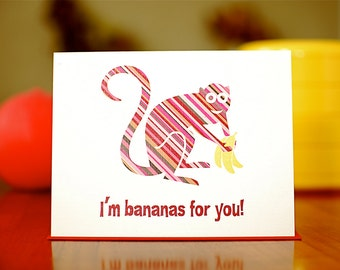 Bananas for You - Striped Monkey I Love You Card on 100% Recycled Paper