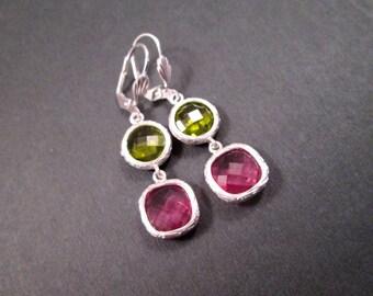 Drop Earrings, Pink and Green Resin Bezels, Silver Dangle Earrings, FREE Shipping U.S.