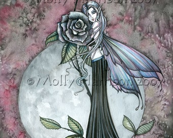Fairy Fine Art Fantasy Print by Molly Harrison 9 x 12  'Midnight Rose'
