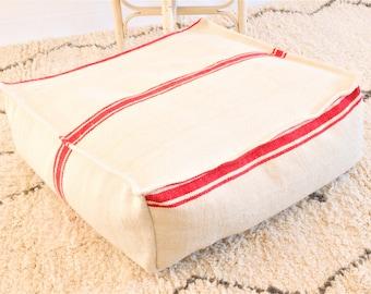 Moroccan Kilim Pouf, Moroccan Floor Pillow, Striped Pouf, Red Pouffs, Ottoman Floor Pillow, Pillowcase, Pouffe, Bohemian pouf, Kilim pouf