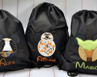 Disney -Star Wars-Inspired -Ears -Bag- Drawstring-Gift- Backpack- Monogram - Personalized- Mouse- Applique- Embroidery- Carry- Mickey