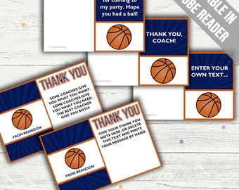 Basketball Thank You Cards (Ideal As A Thank You Coach Card, For Birthdays Or For Baby Showers). Add Your Own Text. Instant Download.