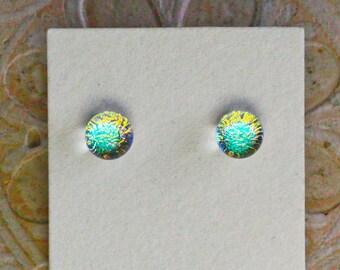 Dichroic Glass Earrings , Petite, Peach/Golden/Green  DGE-1371