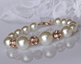 Rose Gold and Pearl Bracelet, Swarovski Pearl & Pave Crystal Bridal Bracelet, Wedding Jewelry, Bridesmaid Bracelet CARMEN RG