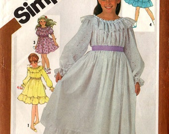 1981 Girls' PEASANT STYLE Pullover DRESS Pattern Size 5 Simplicity #5396 Two Lengths Sunday Best Party School Vintage Sewing