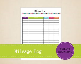 Mileage Log - Business Planner - Printable and Editable - INSTANT PDF DOWNLOAD