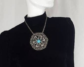 Vintage 70s Hippie Massive RUNWAY Silver Circle Necklace with Blue Turquoise