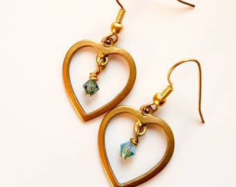 Vintage brass heart earrings with blue crystal drop