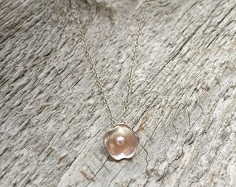 Small Sterling Silver Flower Necklace with Freshwater Pearl