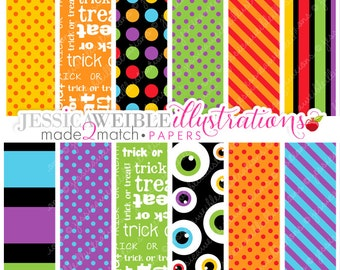 Trick or Treat Monsters Cute Digital Papers for Card Design, Scrapbooking, and Web Design