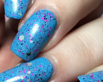 Eleven Nail Polish - grey and pink glitter with color-changing flakes