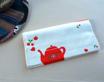 Checkbook protector made from recycled cotton teapot motif