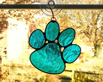 Stained Glass Paw Suncatcher - Animal Paw - Paw Print - Pet Loss Gift - Dog Gift - Dog Paw - Pet Lover Gift - Cat Paw - Blue Cathedral Glass