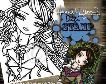 PRINTABLE Digi Stamp Steampunk Coloring Page Fun Fantasy Art Hannah Lynn