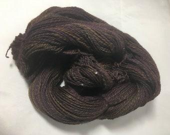 "Handspun Hand Painted Wool Yarn - DK weight - 385 yards, 3.5 ounces - ""Bollywood"" (brown)"