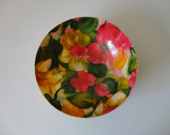 VINTAGE pink green yellow FLORAL fabric BOWL