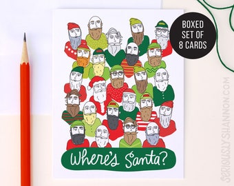 Funny Christmas Card, Christmas Card Pack, Funny Holiday Card, Where's Santa?, Hipster Santa, Holiday Cards Set of 8, A2 Greeting Cards