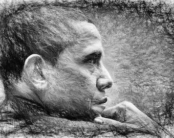 Obama,Line Art,Abstract,Drawing,Geschenk,Unikat,Geburtstag,Home,Paint,Portrait,Deko,Architekt,Raumplaner,Leinwand,Wohnung,Wand Deko