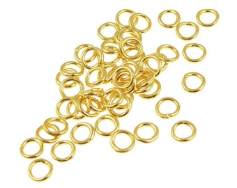 50 Gold Plated Jump Rings 5mm 19 Gauge CLOSED Soldered Shut Gold Jumprings Gold Findings (FS78)
