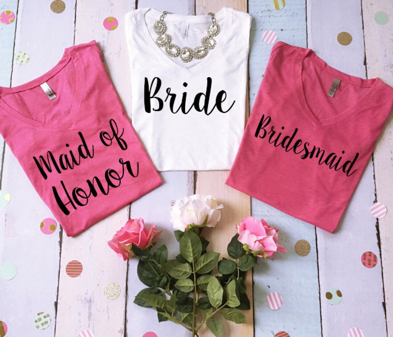 6 Wedding vneck tee shirts. 6 bridal party tees. 6 bridesmaid