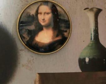 Mona Lisa necklace and pendant of bronze. Vintage. Leonardo da Vinci.