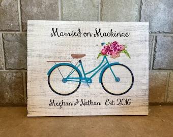 "Married on Mackinac, Custom Wood Sign with Bicycle  9.25"" x 12"""