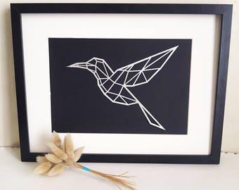 Cut paper Hummingbird illustration - style minimalist