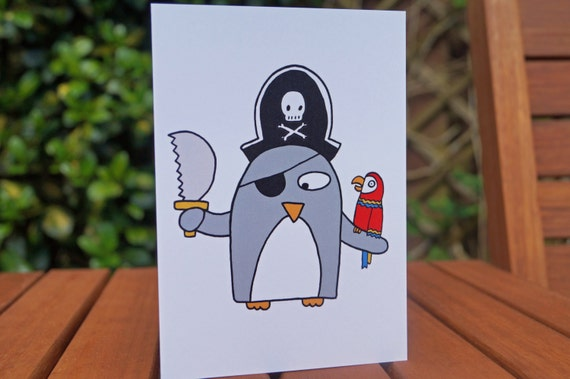 Pirate Card Funny Penguin Birthday Card Child Birthday