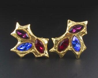 Colorful Earrings, Designer Earrings, Bold Earrings, Carole Saint Germes Earrings, Statement Earrings, Avant Garde Earrings, Gold Earrings