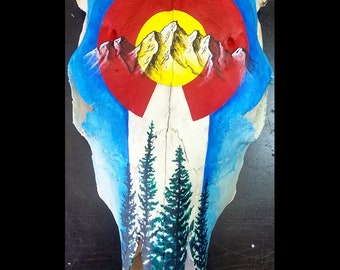 Colorado flag hand painted cow skull